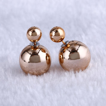 2017 New Fashion High Quality Double Sides Pearl Earrings Studs Jewelry For Women Jewelry boucle d'oreille
