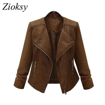 Trendy Zioksy Women Winter Short Bomber Coats And Jackets 2017 New Euro Style Casual Snake Skin Zipper Rider Faux Leather Jacket AT_94_13