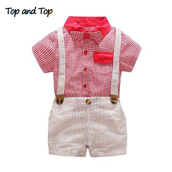 Summer Baby Boy Clothing Set Gentleman Suit Short Sleeve Plaid Bow Tie Shirt Shorts 2Pcs Formal Baby Clothes