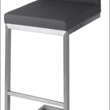 Bran KD Bar Stool Stainless Steel Frame, Gray
