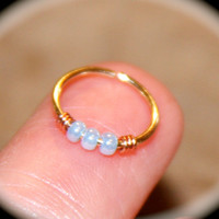 Small Cartilage Earrings, Opalescent Blue Beaded Nose Ring, Nose Hoop,  Ear Cuff, Helix Hoop, Nose Rings, Seamless Hoop, Piercing Jewelry