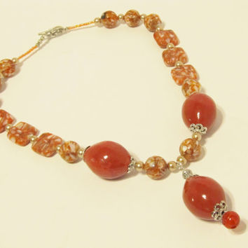 Necklace of Orange Mother of Pearl Resin Beads & Ceramic Beads with Glass Pearls and Carnelian - CIJ Christmas in July SALE