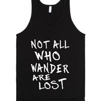 not all who wander are lost blk tank top-jh-Unisex Black Tank