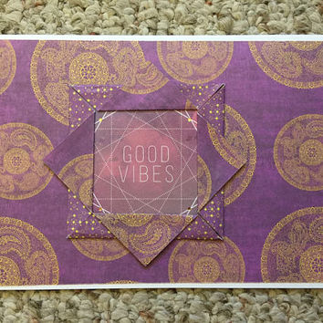 Good Vibes, Boho Card, Quilted Card, Greeting Card, Note Card, Notelet, Paper Handmade Greeting Card, Gypsy Card, Quilters Card  OOAK