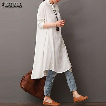 New ZANZEA Women Autumn Round Neck Long Sleeve Buttons Mid-Calf Dress Solid Cotton Linen Asymmetric Hem Midi Vestido Plus Size