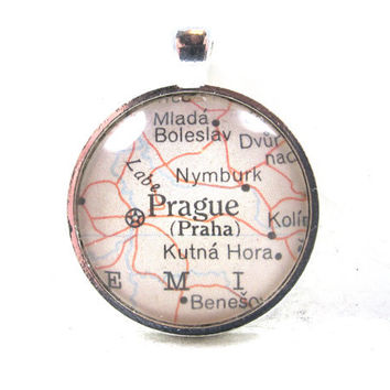 Prague, Czech Republic, Pendant from Vintage Map, in Glass Tile Circle