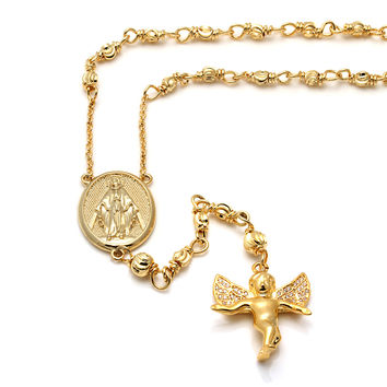 14K Gold Guardian Angel Rosary