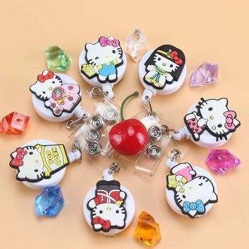7Pcs/lot Mini Cartoon Cool Cat Retractable Badge Reel  Bus card student ID Name Card Badge Holder Office Supplies