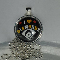 "I Love Diamonds 1"" Pendant Necklace free shipping softball necklace"
