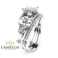 Special Reserved - Natural Diamond 14K White Gold Engagement Ring with Matching Band