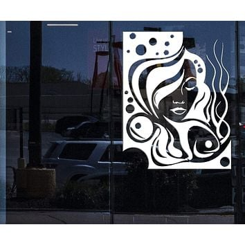 Window Sign Vinyl Decal and Wall Stickers Hair Beauty Salon Sexy Beautiful Hot Girl Unique Gift (z261w)
