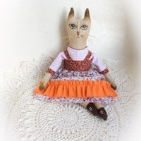 Handmade doll Textile doll Primitive doll Interior doll Rag doll Fabric doll Textile cat Primitive cat Interior cat Rag cat Fabric cat