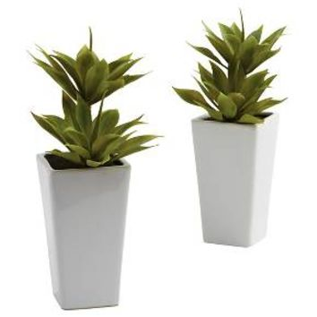 Nearly Natural Double Mini Agave w/Planter (Set of 2)