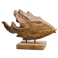 Teak Fish Sculpture