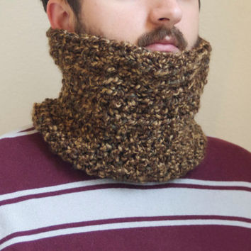 Brown Men's Neck Warmer, Cowl Infinity Scarf for Men, Light Brown Circle Scarf, Cowl Scarf for Men