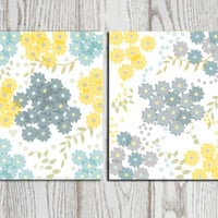 Flower wall art print Yellow teal gray wall decor grey Modern flower art Digital bedroom wall decor Home decor Flower poster canvas DOWNLOAD