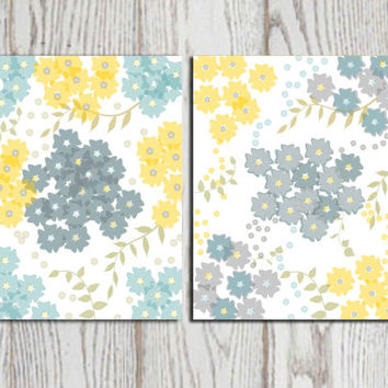 flower wall art print yellow teal gray wall decor grey modern, Bedroom decor