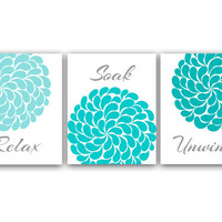 Bathroom Wall Art, Relax Soak Unwind, Aqua & Gray Bathroom Decor, Modern Bathroom Art, Set of 3 Bath Art Prints - BATH5