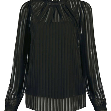 Pleated Chiffon Top in Black