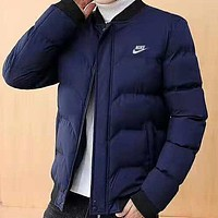 NIKE winter new trend casual plus velvet warm men's down jacket Blue