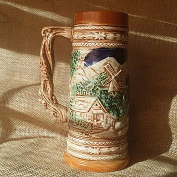 Vintage Beer Stein, 1960s Painted Beer Stein, Painted Ceramic Continous Scene Stein, Vintage Painted Beer Stein, Collectible Beer Stein