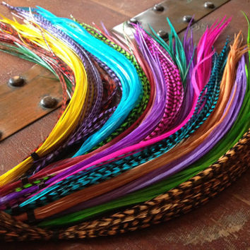Sale Hair Feather Extensions natural, grizzly, colorful dyed Salon Pack 25 long feather hair extensions Wholesale Whiting Extension feathers