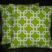 """Decorative Pillows Throw Pillow Cover 16 x 16 inch Chartreuse Chain Link set of TWO 16"""" Accent Pillows Lime Green, White"""