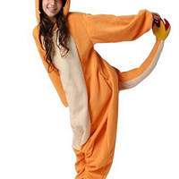 New Adult Charmander Cosplay Costume Fire Dragon Anime Pokemon  Fleece Sleepwear Pajamas Cute Unisex Onesuit Charmander