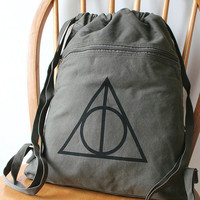 Deathly Hallows Backpack Harry Potter Canvas by catbirdcreatures