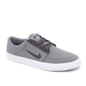 Nike SB Portmore Nubuck Leather Shoes - Mens Shoes - Grey/Anthracite