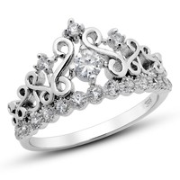 925 Sterling Silver Cubic Zirconia Princess Crown Tiara CZ Band Ring Sz 7