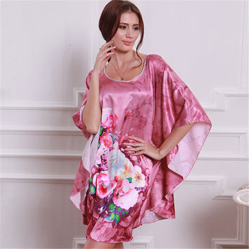 Women Pattern Bat Shirt Sleepwear Nightgown Nightdress Silk Blend Robes Nightwear Q21