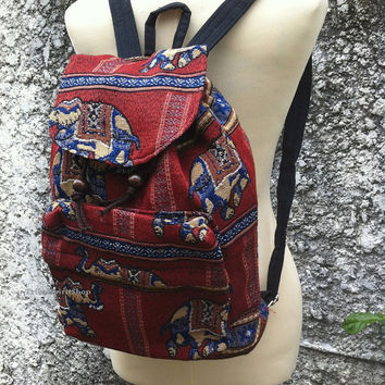 Red Elephants Backpack Boho Tribal Art Aztec Woven Hippies Tapestry Ethnic Rucksack Aztec Gypsy Nepali Patterns Bags Purse Native Design