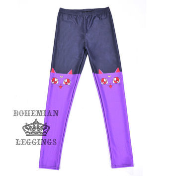 Purple Red-Eared Cat Leggings