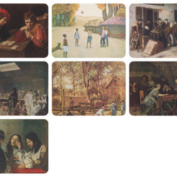 Playing Games, Genre Scenes with Playing People. Set of 7 Vintage Prints, Postcards -- 1950s-1980s