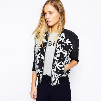 Casual Floral Print Long Sleeve Zipper Front Black Sweater