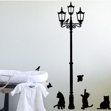 Happy home Popular Ancient Lamp Cats and Birds Wall Sticker Wall Mural Room Kids Decals Wall StickerFor Bedroom Home Decor