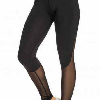 Black Slimming Effect Sport Legging with Mesh