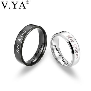 "V.YA Romantic ""His Queen & Her King"" Couple Rings Stainless Steel DIY Custom Jewelry Anniversary Valentine's Day's Promise Gifts"