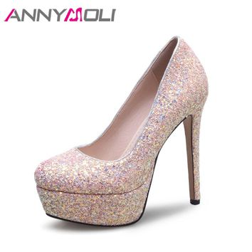 ANNYMOLI Extreme High Heels White Wedding Shoes Glitter Platform High Heels Sexy Stiletto Shoes Bling Bridal Pumps Size 33-43