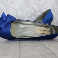 Wedding Shoes -- Royal Blue Wedge Wedding Shoes with Off Center Matching Bow on the Toe