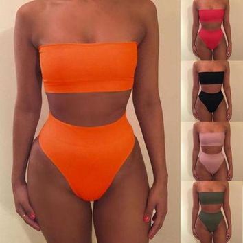 DCCKJ1A 2017 Summer Women Cute Girl Bikini Monokini Swimsuit Padded Strapless Swimwear