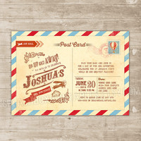 Vintage Travel Birthday Invitation - Aviator Airplane Printable Birthday Invitation post card with vintage plane and hot air balloon