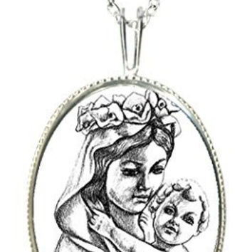 "Mother Mary & Babay Jesus 925 Sterling Silver 1"" Pendant & 20"" Chain Necklace"