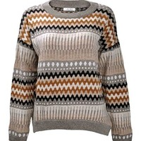 ZLYC Women Fairisle Knitted Casual Long Sleeve Pullover Jumper Christmas Sweater Khaki