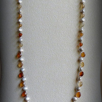 Hessonite Garnets Necklace with Sterling Silver, Statteam