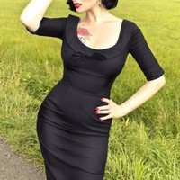 Glamour Bunny - 60s Joan Dress black