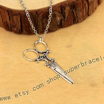 Silver necklace, scissors retro silver scissors necklace, silver necklace, the necklace of friendship