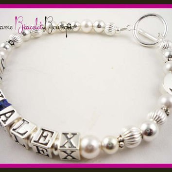Mothers Day Bracelet Mother Mom Grandma Bracelet swarovski Crystals, pearls, sterling silver, gift for new Moms, Baby Showers, Grandmother