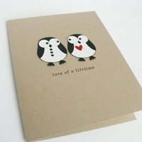 Penguin Card Wedding Anniversary Bridal Shower Card by The Orange Windmill